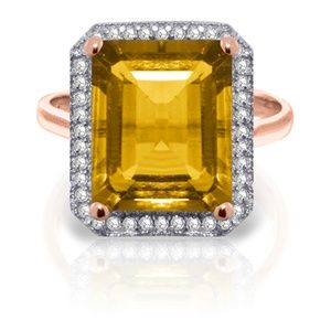 GOLD RING WITH NATURAL DIAMONDS & CITRINE